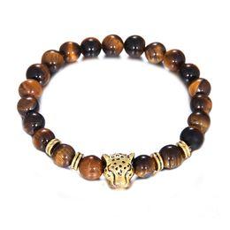 Wholesale Leopard Bracelet Wholesale - 2018 NEW Beaded Bracelets Natural Tiger's Eye stones Charm Jewelry 8mm Yoga Energy Bracelet Bangles Gold Unisex Lion Leopard Bracelet