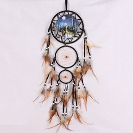 Wholesale Handmade Dream Catcher Net Feather Wall Hanging Decoration Decor Ornament Wolf L quot Craft Bedroom Dreamlike