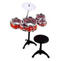 Wholesale Toys Plastic Musical Instruments - Jazz Rock Drums Set Playset Toys Wanyi Kids Deluxe Jazz Drums Kit Musical Instrument Toy with Cymbal Stool Christmas Birthday Gift
