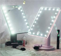 2019 espelho de maquiagem de aço inoxidável Moda Maquiagem LED Espelho de Rotação de 360 Graus de Tela de Toque Compõem Cosmético Dobrável Portátil Compacto de Bolso Com 22 LED de Luz Espelho de Maquiagem