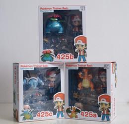 Wholesale Despicable Pvc Figures - 6-10cm Poke Pikachu Trainer Red Ash Ketchum Charizard Blastoise Venusaur Action Figure Toys 20 Anniversary Boxed