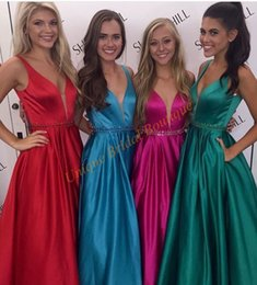 Wholesale neck ring dress - 2017 Cheap Prom Dresses Real Pictures Deep V-Neck with Beaded Sash and Sleeveless Red Blue Fuchsia Hunter Satin A Line Ring Dance Gowns