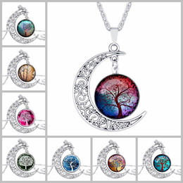 Wholesale Chain S - New Tree of Life pendant necklaces Hollow Carved crescent Moon cabochons Glass Moonstone Charm chokers necklace For women s Fashion Jewelry