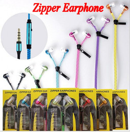 Wholesale Ear Buds Microphone - 2016 New Zipper in-ear 3.5mm earphone with mic metal buds zipper headset headphone for MP3 iphone Samsung htc and retail box