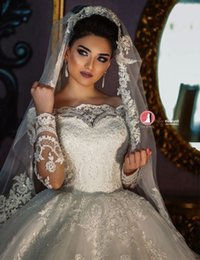 Wholesale Islamic Arabic Wedding Dress - Victorian Islamic Muslim Ball Gown Wedding Dresses 2017 Off Shoulder Long Sleeves Lace Appliques Arabic Russian Italy Winter Bridal Gowns