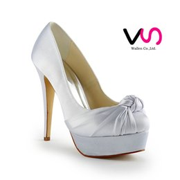 Wholesale Dyeable Satin - 2016 New Hot Cinderella Luxury Prom Wedding Shoes Princess Ivory Dyeable Satin High Heel Simple Design Pump Women Bridal Shoes Party Shoes