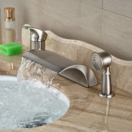Wholesale Deck Mount Tub Faucets - Factory Direct Sale Bathroom Tub Faucet Brushed Nickel Deck Mounted Basin Sink Shower Faucet