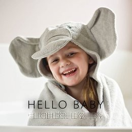 Wholesale Cute Boys Bath - Bath Towel European Style INS Popular 2016 New Kid's Hooded Bathing Towel Elephant Fish Cotton Washcloth for Boys Girls Cartoon Cute Robes