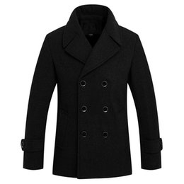 Wholesale Casual Pea Coats For Men - Fall-2016 Autumn New Casual Thick Warm Wool Overcoats For Men Turn Down Collar Quality Pea Coats Men