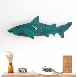 Wholesale Wood Wall Watch - Wholesale- Imitation wood Cute Sharks retro mute wall clock for living room decor wall watch for kid's room