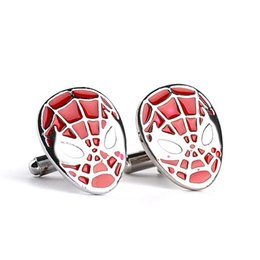 Wholesale Copper Cufflinks - 2018 Spiderman Cufflinks color fashion novelty superheroes design copper material hot selling jewelry for men free shipping zj-0903653