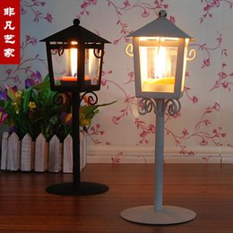 Wholesale Rustic Wrought Iron - Wholesale-FREE shipping Big fashion rustic wrought iron street lamp mousse glass lantern pen holder