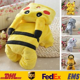 Wholesale Dog Winter Cartoon - New Poke Pikachu Unisex Pet Dog Apparel Clothing Cartoon Costumes Cat Puppy Hoodies Spring Winter Coat Of Dogs XMAS Gifts HH-C11