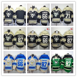 Wholesale Blank Blue Hoodie - Stitched Pittsburgh Penguins Hoody #87 CROSBY 71 Malkin Lemieux Blank hockey Kids men Black Green Cream Jerseys Ice Jersey ,Hoodie Mix Order