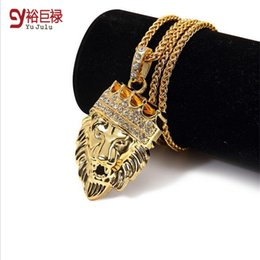 Wholesale Mens Lion Pendant - New 2016 Mens Hip Hop Jewelry Iced Out 18K Gold Plated Fashion Bling Bling Lion Head Pendant Men Necklace Gold Filled For Gift Present