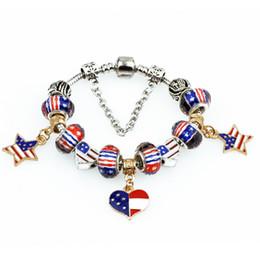 Wholesale Beaded Flags - Wholesale 2016 New DIY Loose Bead Bracelet American National Flag Star Stripe Logo Personality Creative Charm Bracelet