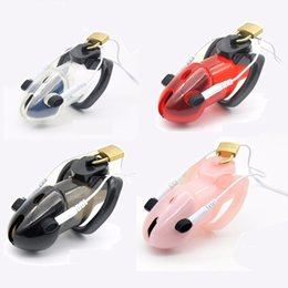 Wholesale Bdsm Electric Shock - Male Plastics Electro Electric Shock Pulse Stimulate Cock Cage Penis Ring Chastity Device Lock Bdsm Sex Toy