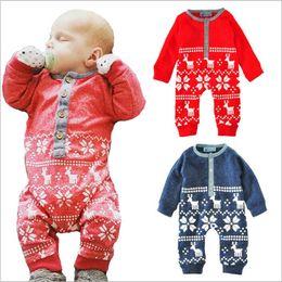 Wholesale Bodysuits Cartoon - Christmas Baby Clothes Toddler Xmas Elk Rompers Newborn Winter Cartoon Onesies Cotton Deer Jumpsuits Kids Bodysuits Fashion Overalls B3306
