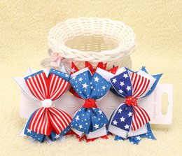 Wholesale Girls Jack - 2017 the Stars and the Stripes Hair Clips the Union Jack Bowknot Barrettes for Kids Flag Hair Pins Girls Flag Hair Barrettes 5 colors