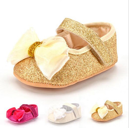 Wholesale Sequin Shoes For Girls - Bow Infant Baby Shoes for Gilrs Walker Moccasins Baby First Walkers Shoes Moccs Kids Paillette Sequins Fashion Footwear 11cm, 12cm, 13cm