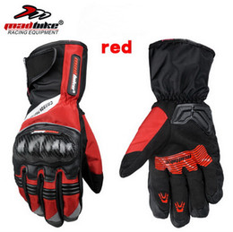 Wholesale Red Leather Motorcycle Gloves - 2016 New MADBIKE full finger motorcycle gloves winter warm leather waterproof tarps carbon fiber motorbike racing glove men and women MAD-19