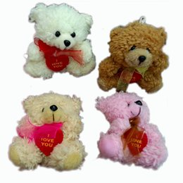 Wholesale Cotton Velveteen Wholesale - 12pcs Plush Cotton velveteen Teddy Bears With LOVE HEART and scarf Small Doll House Craft Sitting Bear x 2.8inch Tall