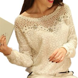 Wholesale Striped Formal Blouse Women - Blouses 2017 Autumn Women Lace Blouse Long Sleeve White Floral Patchwork Shirt Ladies Hollow Out Casual Top Shirts