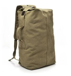 Wholesale Canvas Duffle Backpack - 2017 Multi-purpose Military Canvas Backpack Solid Color Men Weekend Sports Travel Duffle Bags Outdoor Tactical Rucksack XA208WD