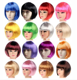 Wholesale Cosplay Dress Wig - New Fashionable BOB style Short Party Wigs Candy colors Halloween Christmas Short Straight Cosplay Wigs Party Fancy Dress Fake Hair Wigs