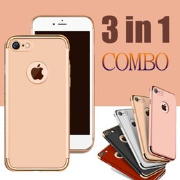 Wholesale Slim Armor Frame - 3 in 1 Combo Matte Frosted Hybrid Slim Plating Frame Shock Proof Hard PC Back Cover Armor Case For iPhone 7 Plus 6S 6 Samsung S7 Edge S6