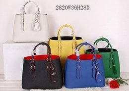 Wholesale Double Flap - Women 1BG820 Saffiano Cuir Leather Tote,Double Leather handle,steel hardware,snap closure side,nappa Leather lining,1 inside flap pocket