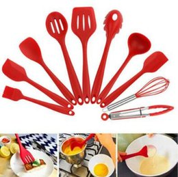 Wholesale Food Clips - 10pcs set Silicone Kitchenware Not Sticky Pot Heat Resistant Shovel Spoon Eggbeater Food Clip Leak Oil Brush Cooking Tools CCA7474 20set