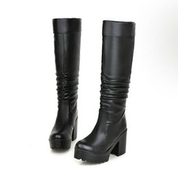 Wholesale Large Size High Heel Boots - New brand fashion Knee-high women Boots Women's thick high heel Platform Boots Winter western Boots Shoes woman large size 34-43