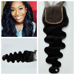Wholesale Cheap Hair Ties - Cheap human hair lace closure no mix,full hand tied lace frontal closure 4*4 top closure G-EASY Hair