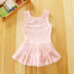 Wholesale Girls Heart Skirt - 2-4Y Sleeveless Tank Skirted Dance Leotard ballet dress Hearts Bows pingirls leotards ballet tutu gymnastics leotard girls free shipping