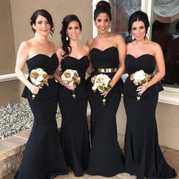 Wholesale Elastic Ribbon Belts - 2017 Black Elegant Mermaid Arabic Long Bridesmaid Dresses Sweetheart Gold Belt Satin Bridesmaid Dress Cheap Prom Party Wedding Guest Dress