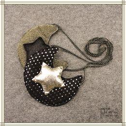 Wholesale Star Moon Bags Blacks - Cartoon Baby Girls Bags New 2017 stars moon Polka Dots Children Messenger Bag Fashion Kids Single-shoulder Bags Mini Bag C1799