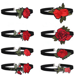 Wholesale Necklace Embroidery - 2017 New Arrival Fashion Style Women Jewelry Black Chokers Flower Necklaces Embroidery Rose Velvet Choker Necklace Gift Classic