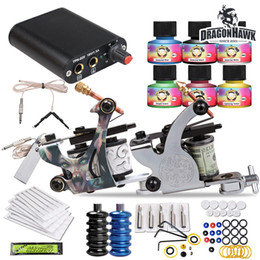 Wholesale Dragonhawk Tattoo - Dragonhawk Tattoo Kit 2 Machine Gun USA color ink Tip Power Supply Set 20 Needle HW-26GD