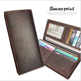 Wholesale Dress Folder - New fashion men brand designer wallet leather long wallet luxury leather clip folder men top quality Money Purse Real Image