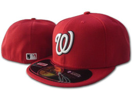 Wholesale door letters - Men's Nationals On Field Baseball Fitted Hats Sport Letter W Team Logo Embroidery Top Quality Full Closed Caps Out Door Fashion Chapeu