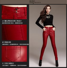 Wholesale Cotton Leather Pants Leggings - NEW 2017 fashionable Autumn red leather pants waist female wearing Leggings Pants Slim Skinny Pants SUITABLE EVERONE WEAR