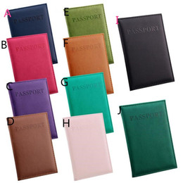 Wholesale Passport Cover Pink - Fashion Passport Wallets Card Holders Cover Case Protector PU Leather Travel 10 Colors 14.2*9.8CM