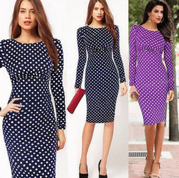 Wholesale Polka Dot Skirt Ladies - Wholesale ladies dress and dress fashion star with a pencil skirt and slim long sleeved Polka Dot Dress