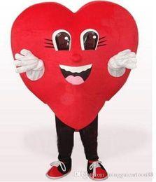 Wholesale Mascot Costume Wedding - Love Red Heart Mascot Costume Halloween Wedding Party red heart cartoon Costume Fancy Dress Adult Children Size
