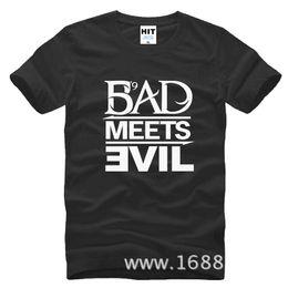 Wholesale T Shirt Bad - WISHCART Eminem Bad Meets Evil rap rock Men's T-Shirt T Shirt For Men 2016 New Short Sleeve Cotton Casual Top Tee Camisetas Masculina