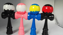 Wholesale Wholesale Wooden Swords - DHL 7 inches Wavy shape Varnish Beech Kendama Ball Japanese Traditional wooden Game Toy Education Gift Children toys 18CM sword ball C856