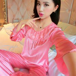 c39e82e3a6 2017 Spring Autumn Long Sleeve Sleepcoat   Pants Nightwear Set Ladies Satin  Sleepwear Plus Size New Silk Pajamas Set For Women