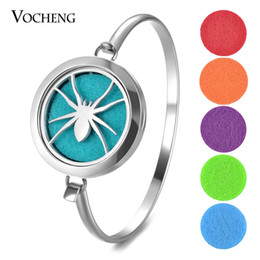 Wholesale Halloween Bracelet Spider - Perfume Locket Bracelet 316L Stainless Steel Bangle Spider 30mm 2 Styles Magnetic without Felt Pads VA-701