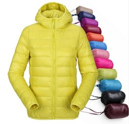 Wholesale Light Down Jacket Women S - women ultra light down jacket hooded winter duck down jackets women slim long sleeve parka zipper coats 2016 pockets solid
